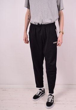 Adidas Mens Vintage Tracksuit Trousers Large Black 90s