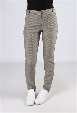Mid  High Waisted Trousers Checked Tapered UK 10 (L25P)