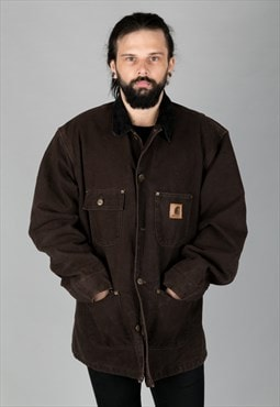Vintage 90s Carhartt Coat Corduroy Collar Brown