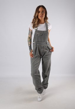 Vintage Denim Dungarees Checked Patterned UK 8 XS (E4T)