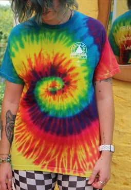 Upcycle Reworked Tie Dye USA TEXAS Graphic T Shirt Medium