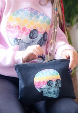Make Up Bag In Black With Mermaid Rainbow Skull Print