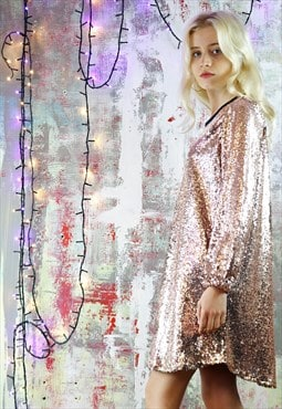 Relax Fit Dress in Pink Sequins