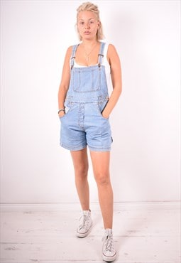 Womens Vintage Denim Dungarees Shorts Large Blue 90s