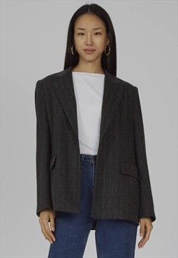 Vintage oversized grey 90's angora striped MaxMara blazer