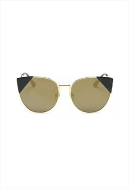 Stephanie Cat Eye Mirror Sunglasses Gold