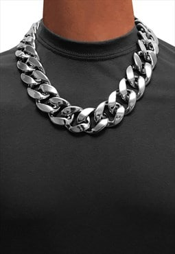 "30"" 24"" Choker Chunky Curb Wide Necklace Chain - Silver"