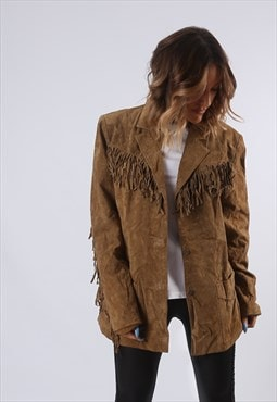 Tassel Fringe Suede Leather Jacket UK 18 (G61H)