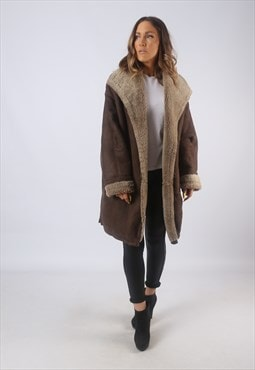 Vintage Suede Sheepskin Shearling Coat UK 18 XXL (B3L)