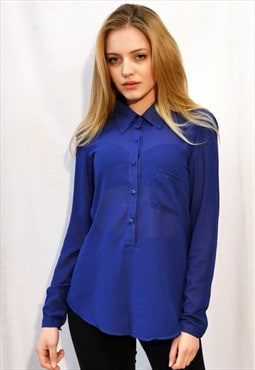 Plain Color Chiffon Shirt with Front Pocket (Royal Blue)