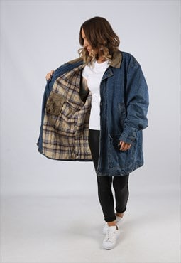 Denim Jacket Winter Lined Oversized Long UK 20 - 22 (BJ3T)