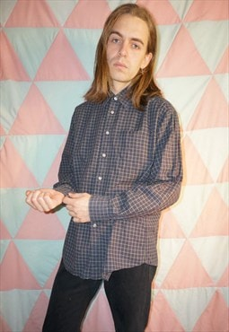 Vintage 90s Green / Blue Check Longsleeve Cotton Shirt