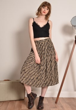 Vintage Animal Print Midi Skirt in Beige