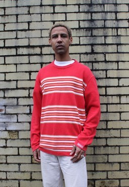 Vintage 1980s Red Hugo Boss Striped Sweatshirt