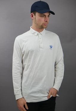 Vintage Ralph Lauren Long Sleeve Polo In White With Logo