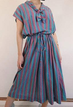 90s Vintage Boho Hippy Striped Colourful Midi Dress