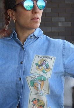 Vintage 1990s Looney Tunes printed denim shirt