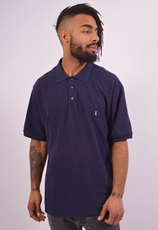 YVES SAINT LAURENT MENS VINTAGE POLO SHIRT XXL NAVY BLUE 90S
