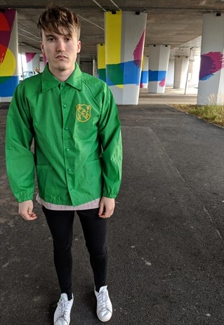 VINTAGE GREEN COACH JACKET WITH EMBLEM