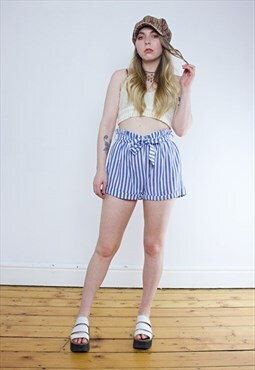 Vintage 90's Striped Blue Paper Bag Waist Shorts