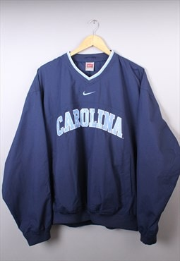 Mens Vintage Navy Nike Carolina V Neck Windbreaker Pull Over