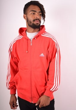 Adidas Mens Vintage Hoodie Jacket Small Red 90s