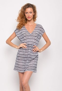 Grey and White Stripe Cotton blend holiday relax Dress CY