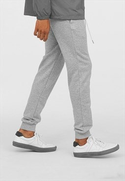 Staple Blank Plain Cuffed Baggy Jogger Bottoms - Grey
