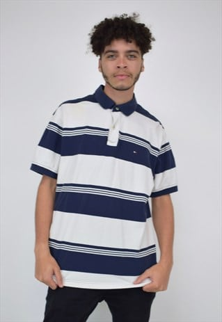 VINTAGE 90'S TOMMY HILFIGER NAVY & WHITE STRIPED POLO SHIRT