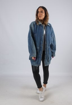 Vintage Denim Parka Jacket Oversized Checked UK 14 (AW2H)