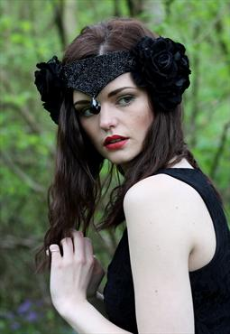 Black swan velvet flower headpiece