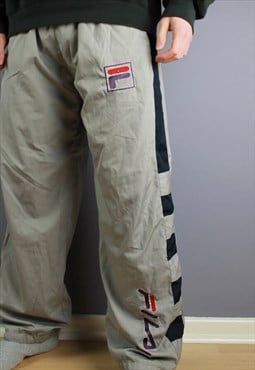 Vintage Fila Track Pants in Grey with embroidery