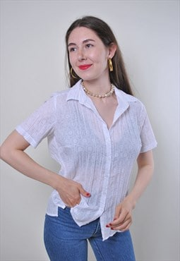 Vintage white summer short sleeve causal blouse
