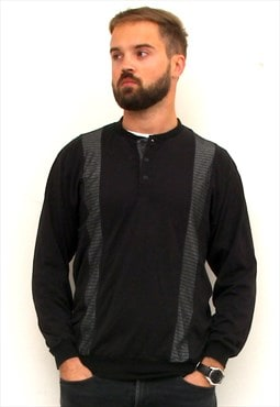Button Up Basic Men Jumper 90's Casual Black Pullover