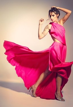 Pink long evening dress