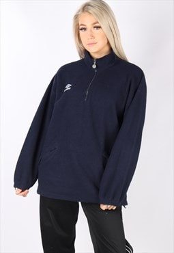 vintage UMBRO fleece jumper sweater navy oversized L 1/4 zip