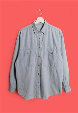 Vintage 80's 90's Unisex Lightweight Denim Button-up Shirt