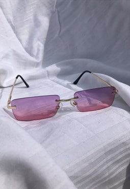 Pink and Purple Rimless 90s Vintage Style Sunglasses