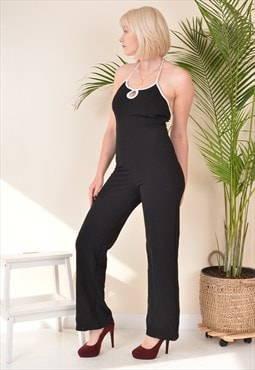 Vintage Halter Neck Backless Jumpsuit Black 80s