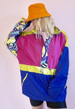 Vintage Waterproof Zip jacket / Windbreaker, multi coloured