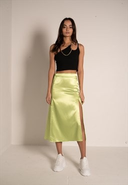 Lime Satin midi skirt with side split