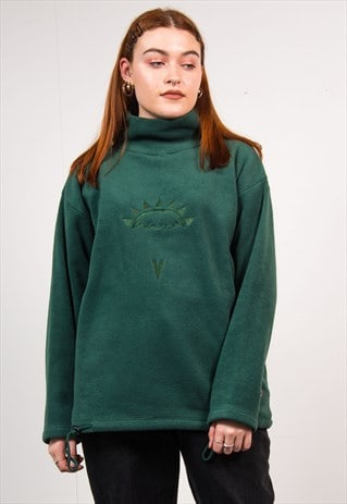 VINTAGE 90'S DARK GREEN HIGH NECK FLEECE JUMPER