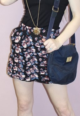 Blurred floral print ruffles mini skirt punk grunge stretch