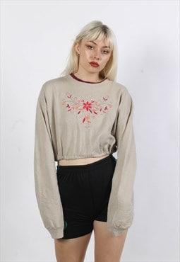 Vintage Rework Elasticated Crop Top Sweatshirt Grey