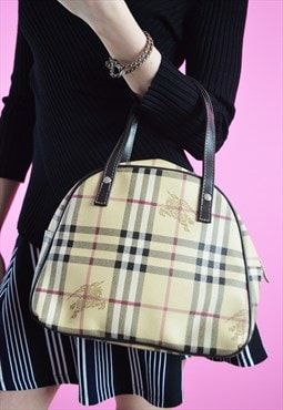 Vintage tartan plaid faux leather beige handbag
