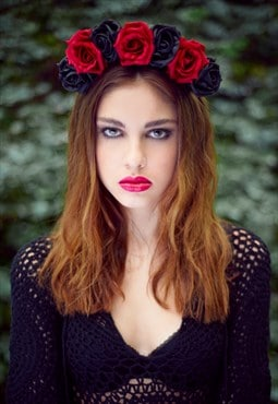 Rose Crown, Flower Crown, Red Flower Crown, Floral Headband