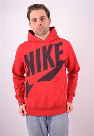 NIKE MENS VINTAGE HOODIE JUMPER MEDIUM RED 90S