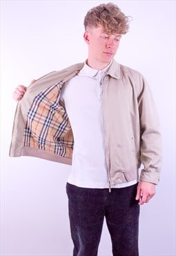 Vintage Burberry Nova Check Harrington Jacket in Beige
