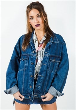 Vintage 80s Wrangler Basic Dark Wash Denim Jacket / 7499