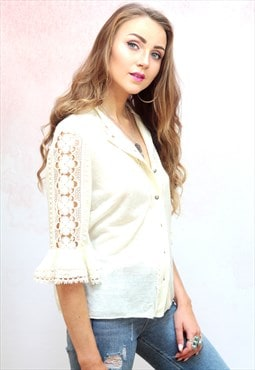 1970s vintage cream button up crochet bell sleeve blouse